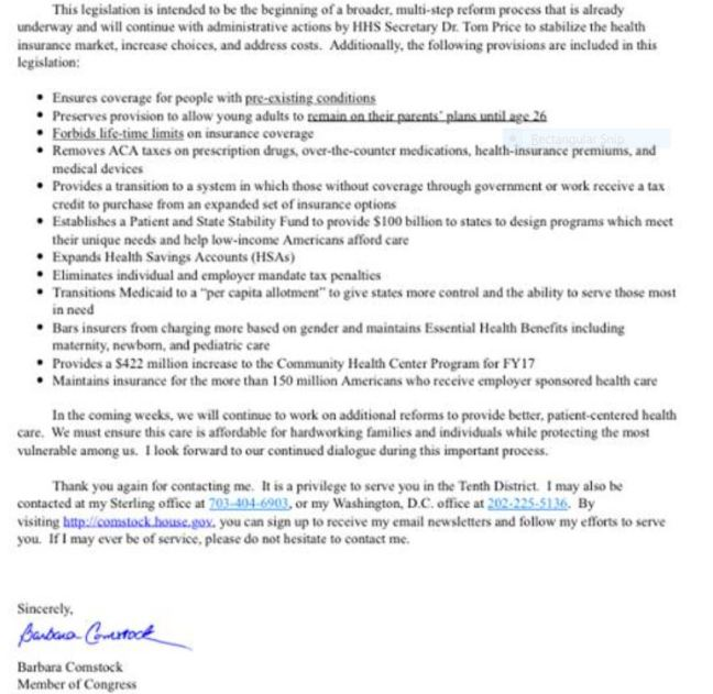 email from comstock re AHCA