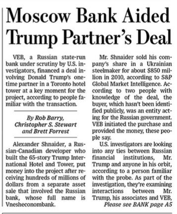 Moscow Bank Aided Trump Partner