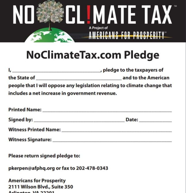no climate tax pledge